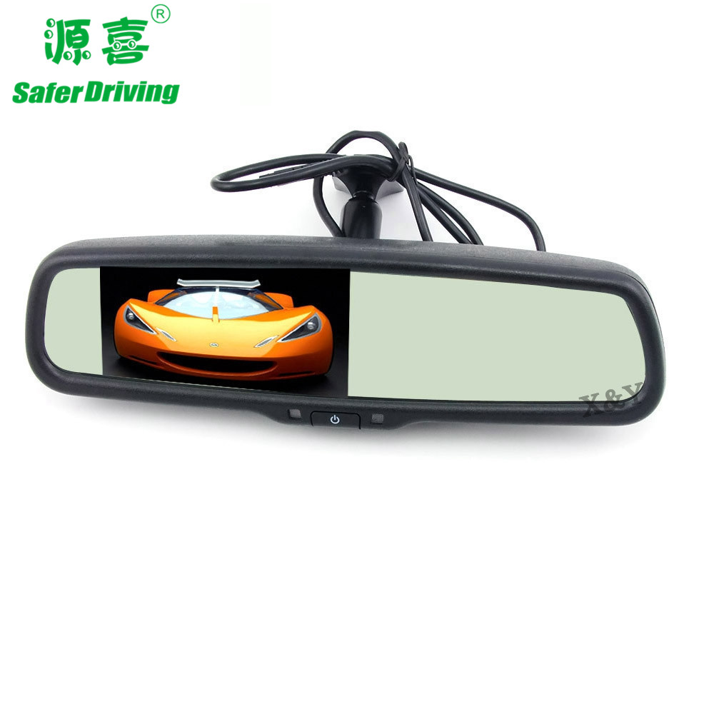 4.3 inch car rearview anti-glare mirror monitor with Form-fitting stents   XY-2501